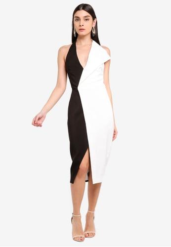 Lavish Alice black Contrast Oversized Collar Halter Midi Dress BA842AAFE71303GS_1