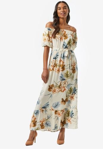 Dorothy Perkins white Cream Tropical Print Puff Sleeve Maxi Dress 4B5E7AA60A58B4GS_1