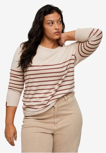 Violeta by MANGO multi and beige Plus Size Striped knit sweater 8503DAA9693188GS_1