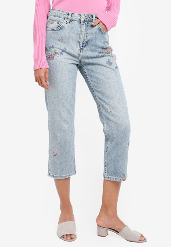 TOPSHOP blue Moto Floral Embroidered Jeans E5426AA14A05A1GS_1
