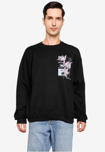 Topman black Black Lily Print Sweatshirt 7150EAABB0406FGS_1