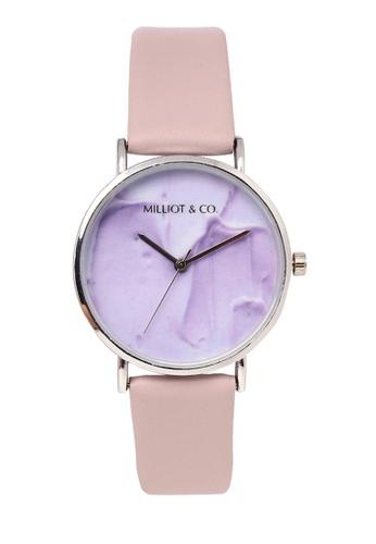 Milliot & Co. purple Josie Silver PU Strap Watch 78BDAACE83D722GS_1