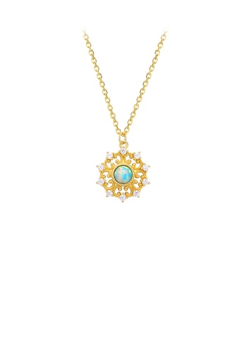 Glamorousky silver 925 Sterling Silver Plated Gold Elegant Vintage Pattern Geometric Pendant with Cubic Zirconia and Necklace 44D63AC26EEC53GS_1