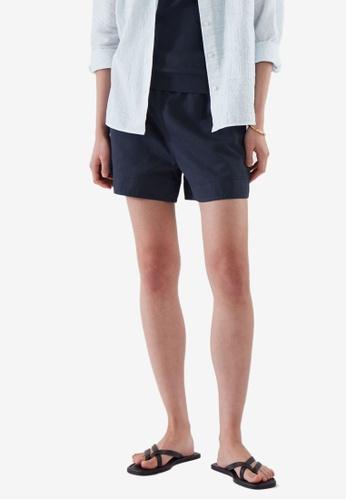 COS blue Cotton-Linen Shorts EE649AA02B1A8FGS_1