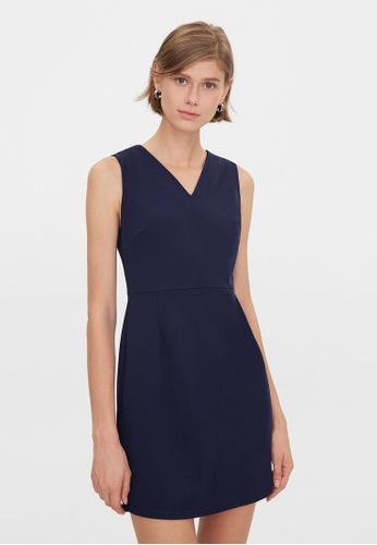 Pomelo blue V Neck Sleeveless Dress - Navy 25FEEAA453C5EEGS_1