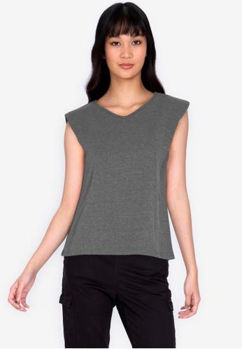 ZALORA BASICS grey Rib V Neck Shoulder Pad T-shirt 25D9DAA076F68EGS_1