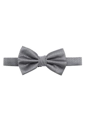 Burton Menswear London grey Silver Geometric Bow Tie BU964AC0SD21MY_1