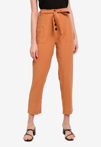 PIMKIE brown Tie Waist Pants 71A0FAA1DD0B01GS_1