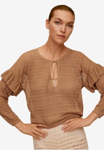 Mango brown Crochet Sweater EEBB5AA380E66AGS_1