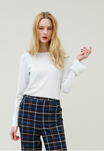 KLAPS white Wool Blended Flare Sleeve Sweater 63C57AA235F025GS_1