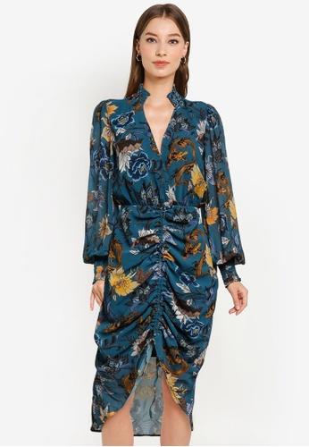 Goddiva blue Drawstring Printed Shirt Midi Dress 6C25DAA21F7F66GS_1