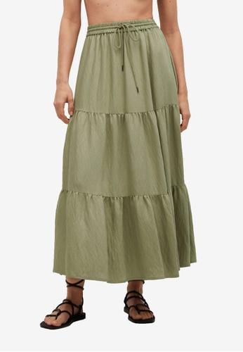 Mango green Midi Ruffles Skirt E2664AA4E2FDB0GS_1