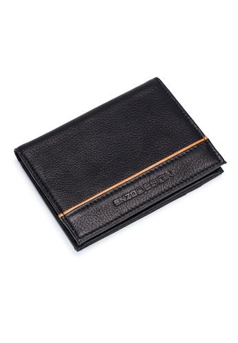 ENZODESIGN black ENZODESIGN Leather Slim Bifold Card Holder (With Hidden Side Pockets)V18B-CFSG 2C16BAC3581028GS_1