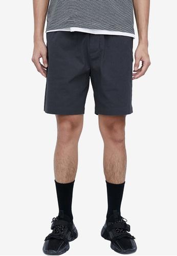 URBAN REVIVO grey Drawstring Shorts 4CEC5AA96AB7BBGS_1
