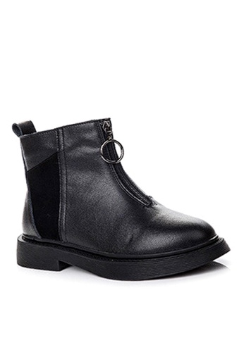 Twenty Eight Shoes black Nubuck and Top Layer Cowhide Mid Boots VB1555 4596BSH8FD1A73GS_1