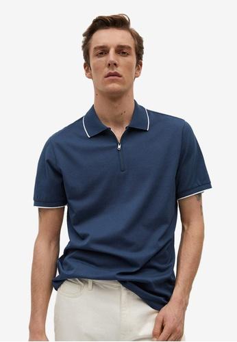 MANGO Man blue Technical Zip-Up Knitted Polo Shirt 724ECAA4C98E18GS_1