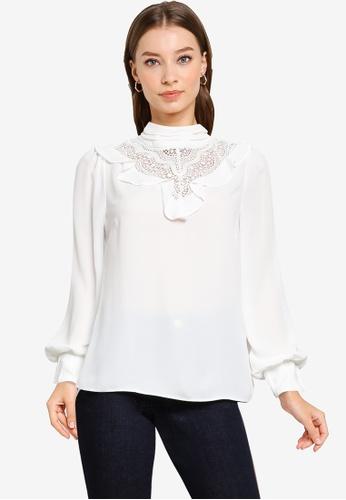 Dorothy Perkins white White Lace Victoriana Top B2C2FAA3A5FD18GS_1