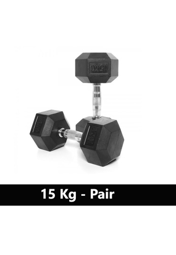LIVE UP AND LIVE PRO. black Liveup Rubber Hexagonal Dumbbells - 15Kg (Sold as Pairs) 8BF2DSEE6CB6A8GS_1