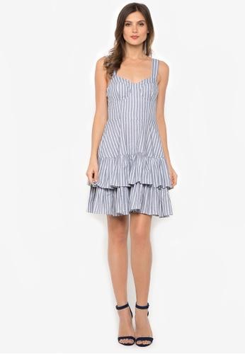 NOBASIC grey Striped Princess Cut Short Dress C5144AA8093572GS_1