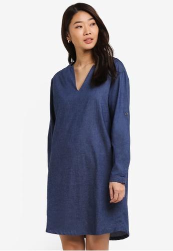 ZALORA blue V Front Dress BA99DAA71CE29BGS_1