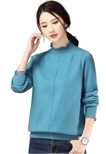 A-IN GIRLS blue Fashion Gauze Stitching Sweater FC11EAA32E6EFFGS_1