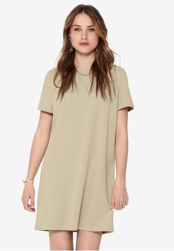 ONLY beige Tina Short Sleeve Dress FAD07AA2B1FA7BGS_1