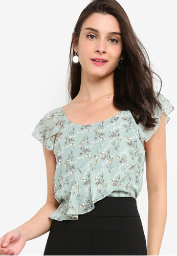 ZALORA green and multi Ruffles Sleeves Top 6FC17AA87A82D7GS_1