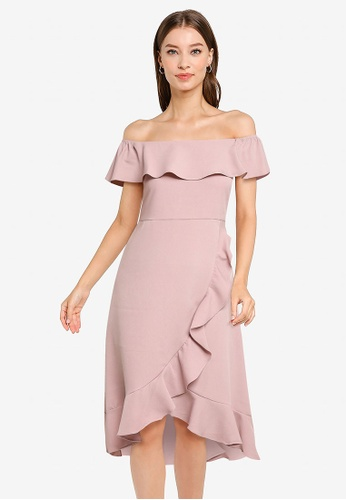 ZALORA OCCASION pink Ruffle Hem Off Shoulder Dress 85848AA2E2BC67GS_1