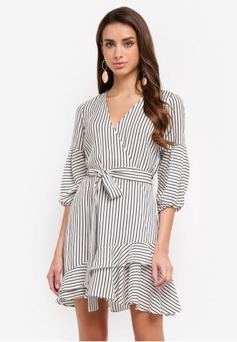 River Island white Stripe Frill Hem Tie Waist Dress D3ED9AAC2B3BE8GS_1