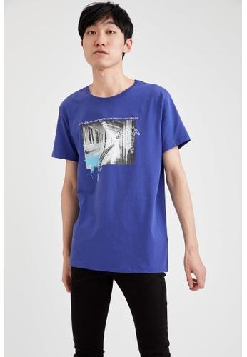 DeFacto blue Short Sleeve Round Neck Cotton Printed T-Shirt B1C02AAC3E2FB6GS_1