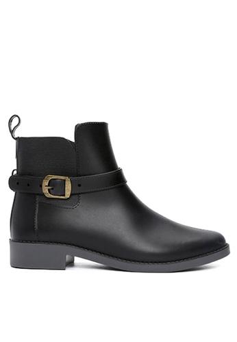 Twenty Eight Shoes 黑色 踝帶扣馬丁低筒雨靴 VA01 TW446SH2UOF6HK_1