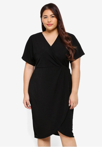 LOST INK PLUS black Plus Size Bodycon Dress With Twist Front 5E7B7AAD2454C5GS_1