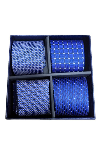 Kings Collection blue Tie, Pocket Square 6 Pieces Gift Set (KCBT2092a) 78355AC3236F06GS_1