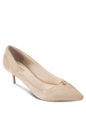 鉚釘尖頭仿麂皮低跟鞋, 女鞋esprit旗艦店, 鞋