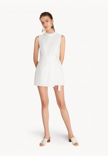 22e5606fb530 Buy Pomelo Mini Mock Neck Belted Romper - White Online | ZALORA Malaysia