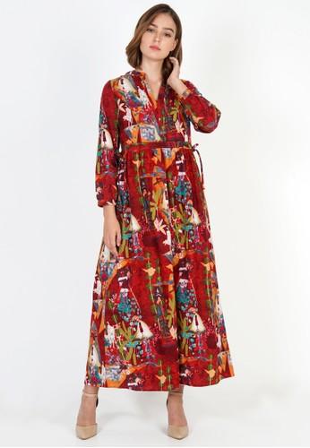 novel.mice multi Ethnic Tunic Red Abstrak Dress E6C7FAA8690087GS_1