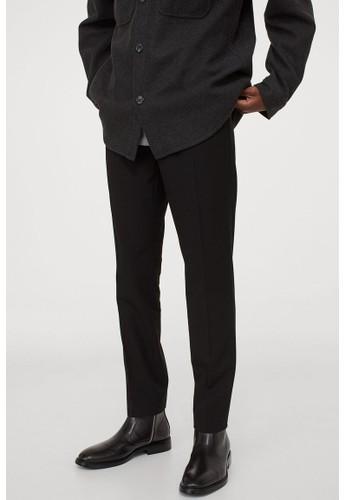H&M black Slim Fit Cigarette trousers F4820AA1FC5846GS_1