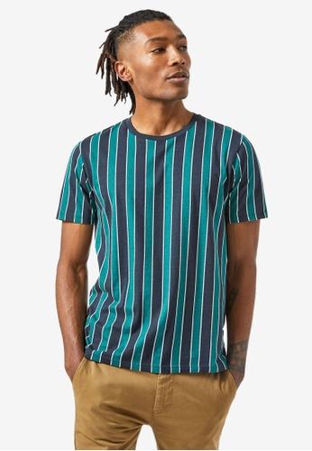 Burton Menswear London navy Teal Green and Navy Vertical Stripe T-Shirt CE58FAAED6E4C3GS_1