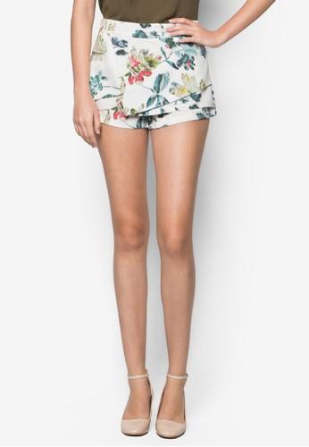 花卉圖案裹飾短褲, 服飾,zalora 男鞋 評價 服飾