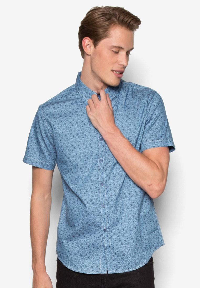 Abstract Floral Denim Short Sleeve Shirt