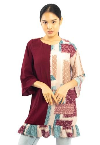 Agatha red Laura ruffle blouse 30402AA9FE838EGS_1