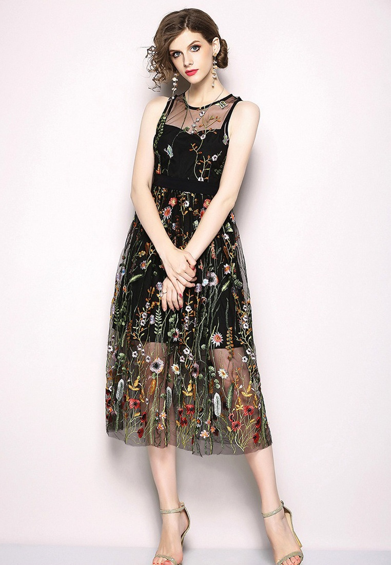 2018 Sunnydaysweety One Piece CA071865BK Floral Dress Black Black Patterned New qwg7qR
