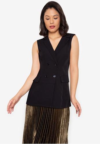 ZALORA WORK black Sleeveless Tuxedo Dress EE3EEAAF1F17FEGS_1