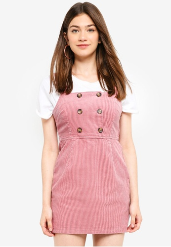 a4fa43c455 Miss Selfridge pink Petite Pink Chunky Cord Pinafore Dress  6FD2AAA00EDE63GS 1