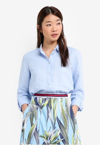 ESPRIT blue Flowing Cotton-Linen Shirt 76ABAAADEF5724GS_1