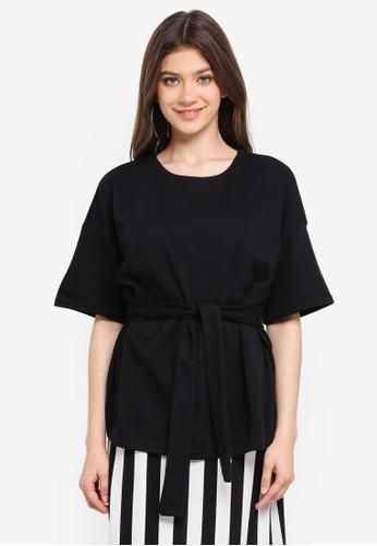 JACQUELINE DE YONG black Frida 2/4 Tie Sweatshirt 96398AAD9A5BA1GS_1