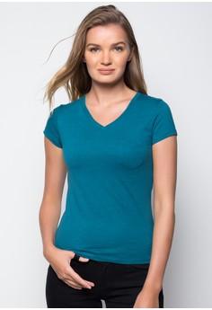 Plain V-Neck Top With Pocket