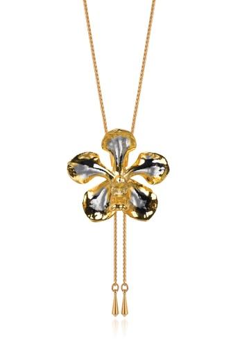 RISIS multi RISIS 24K Gold and Rhodium Plated Natural Vanda Mariae Orchid Slider 0D62BAC6022FD2GS_1