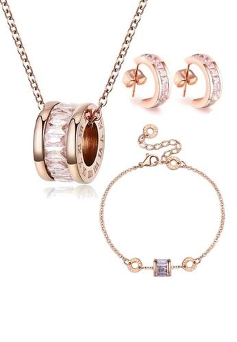 CELOVIS white and gold CELOVIS - Oceane White Cryolite Necklace + Bracelet + Earrings Jewellery Set 7034EACB3AAAAFGS_1