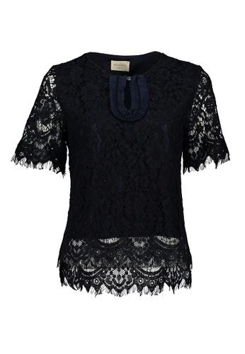 Kashieca black Short Sleeve Lace Top 8FF71AA2D8FD3BGS_1